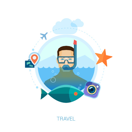 airplain: Snorkeling man over sea waters vector illustration. Modern flat design icons concept for travel, leisure, vacation, swimming and diving, fishing and tropical holidays.