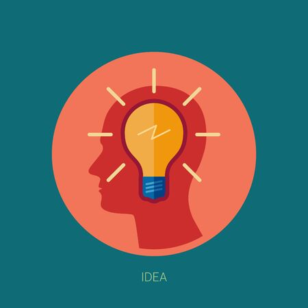 lamp: Idea, inspiration, insight or vision concept flat design icons illustration with human head profile.