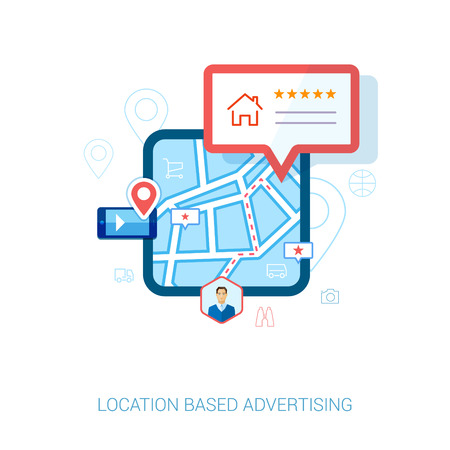 Set of modern flat design icons for mobile or smartphone location based advertising. Place check-in, hotel, restaurant, contact,l rating and context ads concept vector illustration. Vettoriali