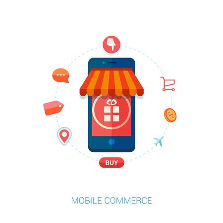 携帯電話やスマート フォンの商取引のためのモダンなフラット デザイン アイコンのセットです。オンライン モバイル ショッピングと行く購入アイ  イラスト・ベクター素材