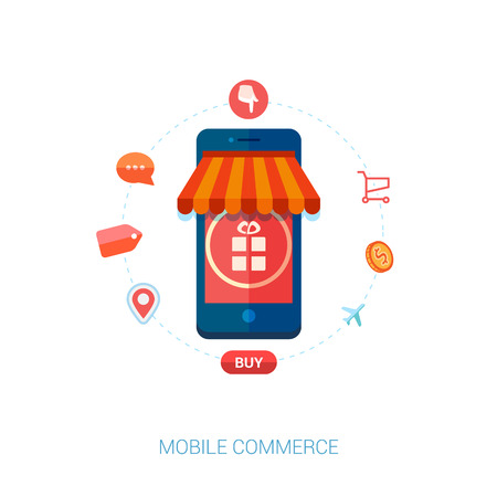 Set of modern flat design icons for mobile or smartphone commerce. Online mobile shopping and on the go purchase icons.