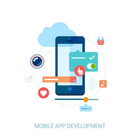Set of modern flat design icons for mobile application development or smartphone app programming. Interface elements for mobile apps concepts. Illustration