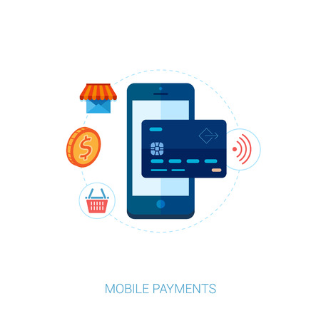 Set of modern flat design icons for mobile payments and nfc. Interface elements for mobile apps concepts. Иллюстрация