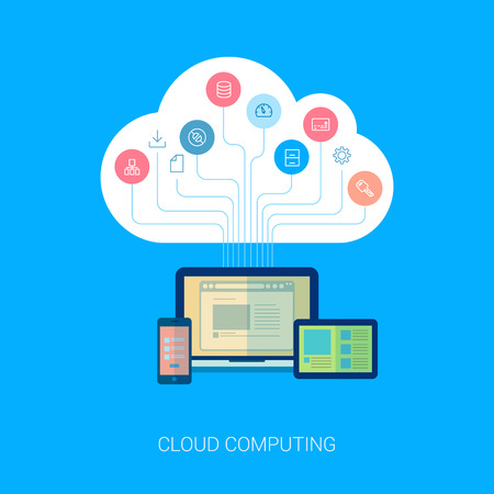 Flat style cloud computing, internet analytics, seo, web design, apps and web development vector icons illustration. Cloud tree growing from computer, table and phone modern illustration concept. Иллюстрация