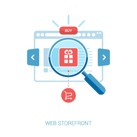 Illustration for online storefront, add to bag, web shop, internet shopping. Set of flat design concept icons for online shopping and e-commerce .