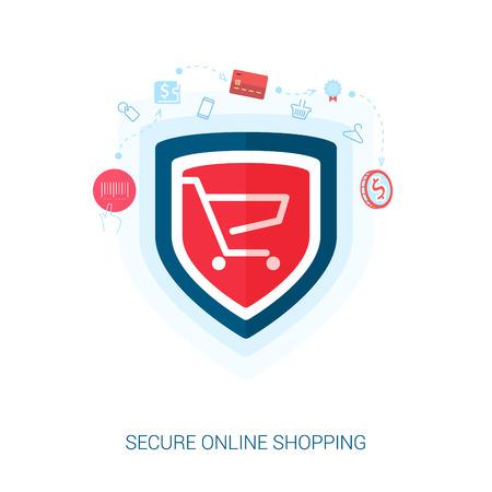 Ensemble de plates icônes concept de design pour les achats en ligne sécurisé. Teaser ou écran de veille illustration pour la sécurité Ajouter au panier OU transaction de paiement dans le site web e-commerce.