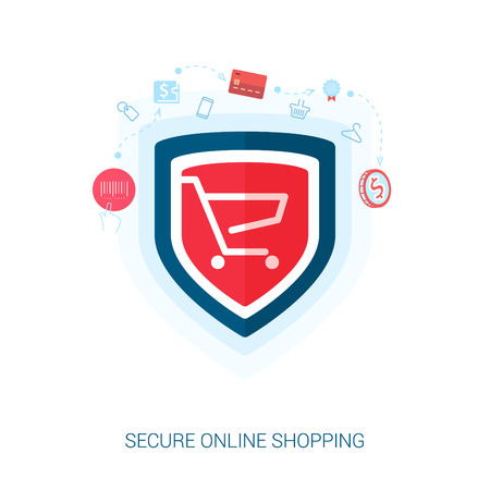 Set of flat design concept icons for secure online shopping. Teaser or splash screen illustration for safe the add to cart or payment transaction in e-commerce web site. Illustration