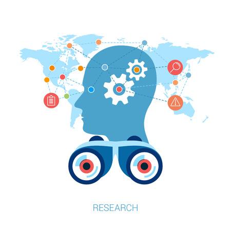 onderzoek: Platte design iconen voor internet reclame web development, internet marketing research, consulting en grafische vormgeving. Concept pictogrammen voor web mobiele diensten vector illustratie. Menselijk hoofd profiel. Stock Illustratie