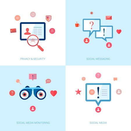 brand monitoring: Set of modern flat design icons on the topic of social networks, messaging, brand monitoring, privacy protection and safety.