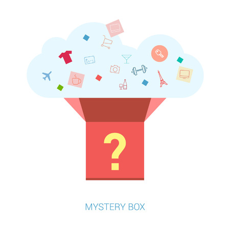 Vlakke pictogrammen mystery box vector illustratie voor retail, e-commerce, winkelen, nieuws brieven e-mail, reclame en publicatie design. Surprise, vraag, heden concepten template. Stock Illustratie
