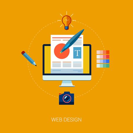 programing: Web design flat icons set. Concept icons for web and mobile phone services, apps and web design and programing. Illustration