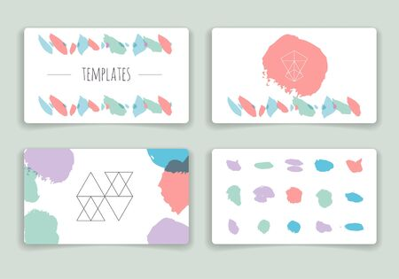 Collection of hand drawn party cards and invitations. Set of Trendy Posters with hand drawn Background. Modern design for Invitation. Hand Drawn Elements for Placards, Flyer