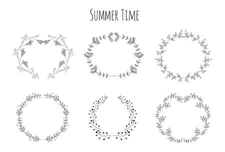 floral swirls: Swirls, laurels, frames, leaves, banners and curls. Laurels. Wedding templates set with floral ornate elements Stock Photo