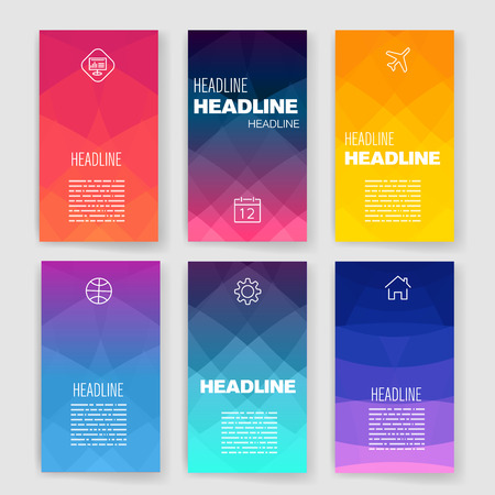 banner design: Modern flat user interface screen template for mobile smart phone or web site. Transparent blurred material design ui with icons.