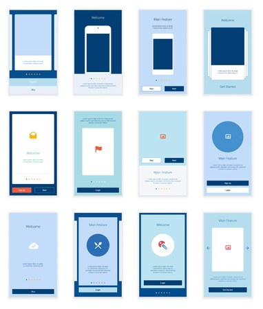 page layout: Mobile Screens User Interface Kit. Modern user interface UX, UI screen template for mobile smart phone or responsive web site. Welcome, onboarding, login, sign-up and home page layout. Illustration