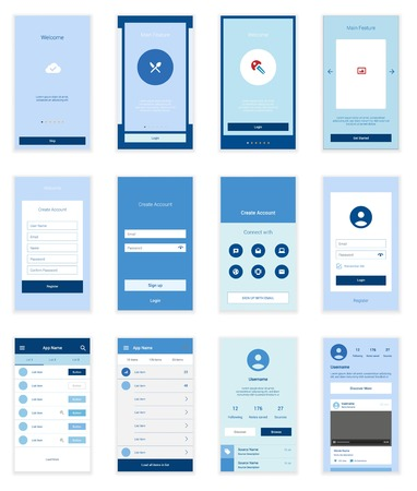 Mobile Screens User Interface Kit. Modern user interface UX, UI screen template for mobile smart phone or responsive web site. Welcome, onboarding, login, sign-up and home page layout. Иллюстрация