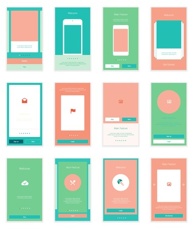 home page: Mobile Screens User Interface Kit. Modern user interface UX, UI screen template for mobile smart phone or responsive web site. Welcome, onboarding, login, sign-up and home page layout. Illustration