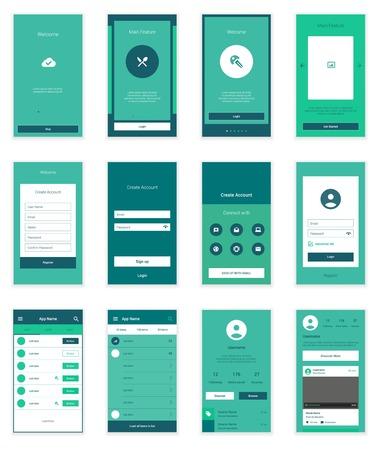 Pantallas Móviles Kit de interfaz de usuario. Moderno UX interfaz de usuario, plantilla pantalla de interfaz de usuario para el teléfono móvil inteligente o sitio web de respuesta. Bienvenido, incorporación, inicio de sesión, inscribirse y el diseño página de inicio. Ilustración de vector