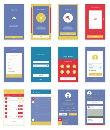 Mobile Screens User Interface Kit. Modern user interface UX, UI screen template for mobile smart phone or responsive web site. Welcome, onboarding, login, sign-up and home page layout. Vettoriali