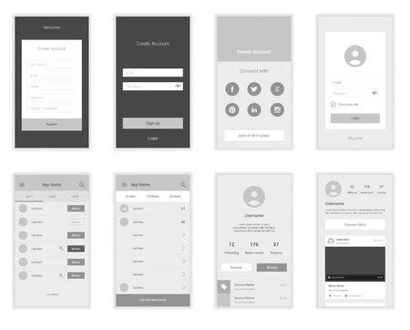 Mobile Screens User Interface Kit. Modern user interface UX, UI screen template for mobile smart phone or responsive web site. Welcome, onboarding, login, sign-up and home page layout. Illustration