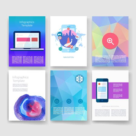digital illustration: Templates. Design Set of Web, Mail, Brochures. Mobile, Technology, and Infographic Concept. Modern flat and line icons. App UI interface mockup. Web ux design.