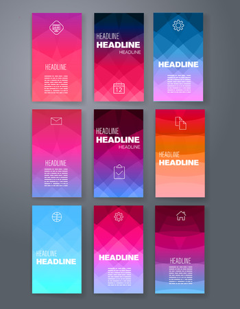 triangular banner: Templates. Design Set of Web, Mail, Brochures. Mobile, Technology, and Infographic Concept. Modern flat and line icons. App UI interface mockup. Web ux design.