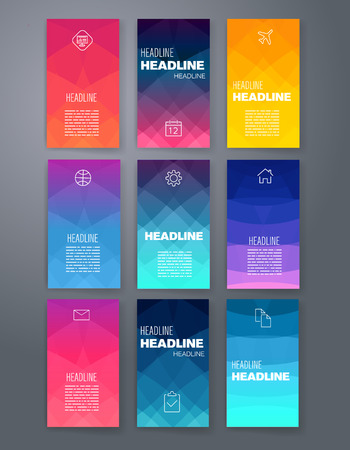 presentation card: Templates. Design Set of Web, Mail, Brochures. Mobile, Technology, and Infographic Concept. Modern flat and line icons. App UI interface mockup. Web ux design.