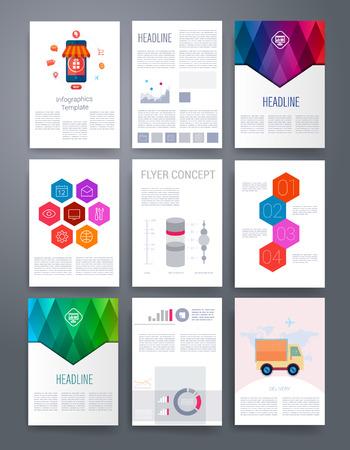 folleto: Plantillas. Diseño Conjunto de Web, Correo, Folletos. Móvil, Tecnología e Infografía Concept. Iconos planos y líneas de estilo moderno. Aplicación UI interfaz maqueta. Diseño ux Web.