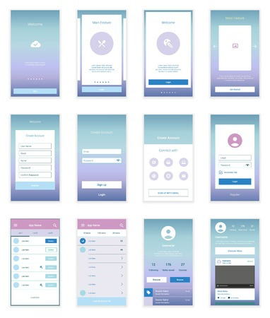 mobile website design: On boarding wizard template for modern user interface.