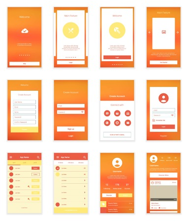 mobile app: On boarding wizard template for modern user interface.