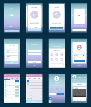 mobile app: Modern flat user interface screen template for mobile smart phone or web site. Transparent blurred material design ui with icons.