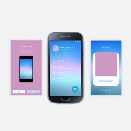 signup: Mobile Screens User Interface Kit. Modern user interface UX, UI screen template for mobile smart phone or responsive web site. Welcome, onboarding, login, sign-up and home page layout. Illustration