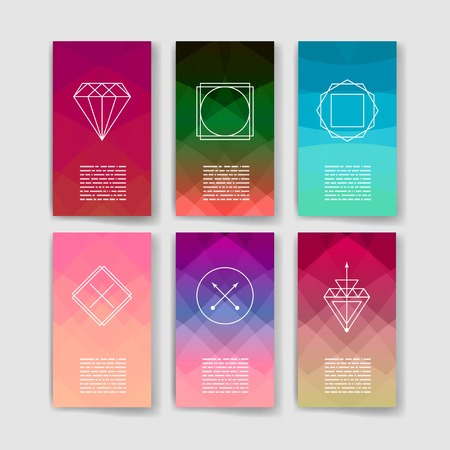hex: Set of Trendy Posters. Modern Hipster Style for Invitation, Business Contemporary Design. Hand Drawn Elements for Placards, Flyer