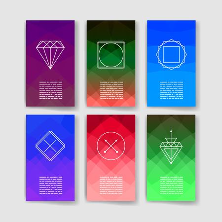 myst: Set of Trendy Posters. Modern Hipster Style for Invitation, Business Contemporary Design. Hand Drawn Elements for Placards, Flyer