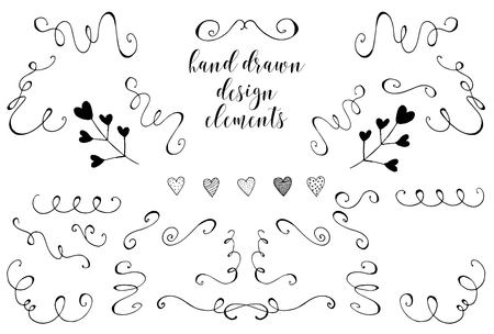 Swirls, laurels, frames, leaves, banners and curls. Laurels. Wedding templates set with floral ornate elements Иллюстрация