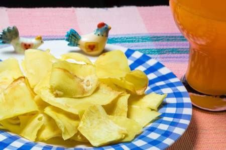 fried snack: Durian chips fried snack fruit on the dish Stock Photo