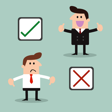 approved icon: businessman and Stickers with check marks and x symbols - Illustration Illustration