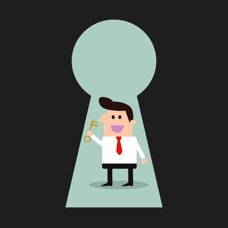 key hole: Businessman & key - Keyhole -Illustration