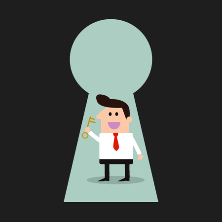 Businessman & key - Keyhole -Illustration