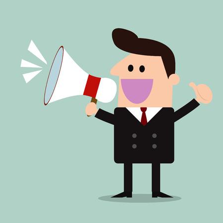 businessman with a megaphone,promotion marketing concept
