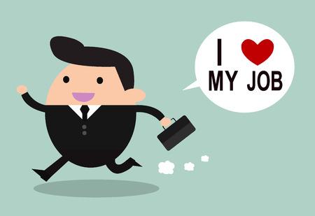 Happy businessman. I love my job business concept. Vector illustration. Ilustração