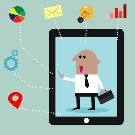 businessman with business social media icons Illustration