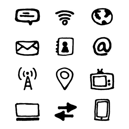 Media and communication icons set art Vector