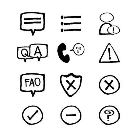 notification: Information and notification thin icons set  art