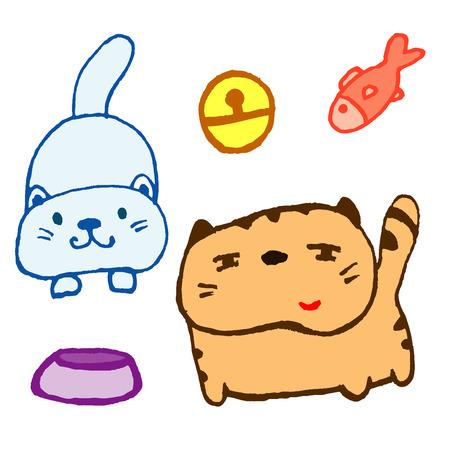 スケッチ漫画猫アートのセット
