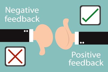 Mano di affari pollice con vero e falso segno positivo e negativo concetto di feedback. Design minimal e piatta Archivio Fotografico - 41491279