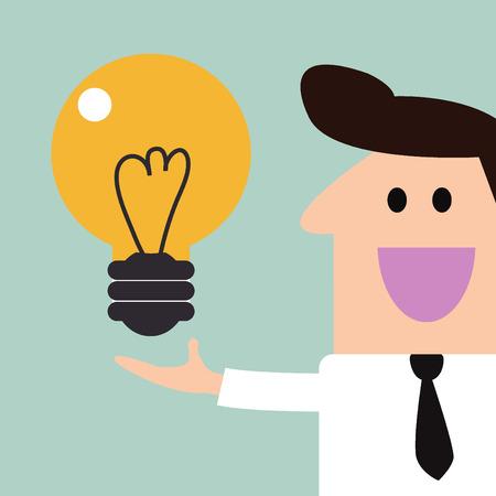 Lamp licht op de hand zakenman idee Stock Illustratie