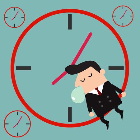 sleepy man: Sleeping businessman. illustration Vector Illustration
