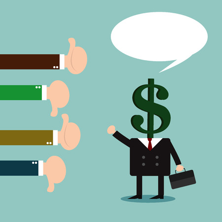 feedback: Businessman feedback. Like and dislike. illustration Vector