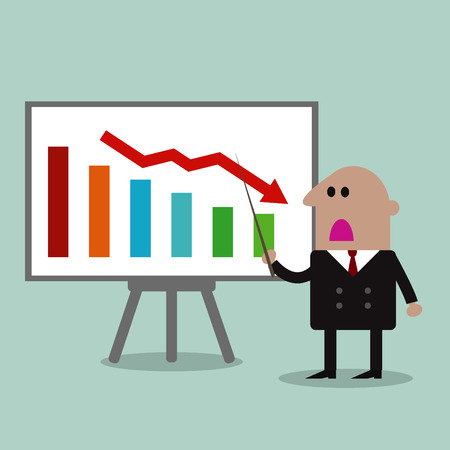 decrease: businessman Manager Pointing To A Decrease Chart On A Board